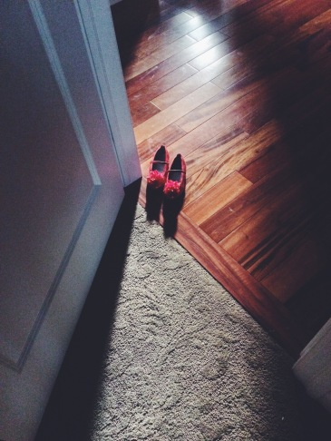 Two small red slippers