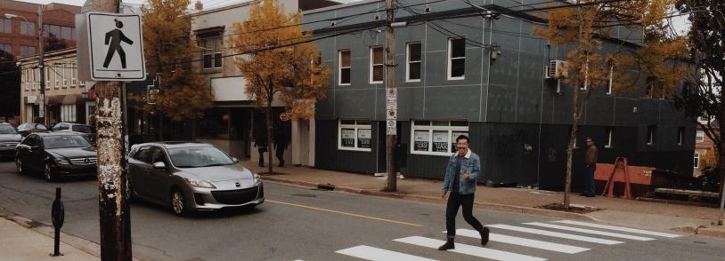 Spencer crossing the street